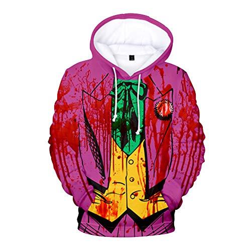 Camiseta Payaso Asesino Unisex Sudadera con Capucha Hombre Mujer Camisa 3D Estampada Blusa Manga Larga Pullover Hoodie Sweatshirt Baggy Jumper Top Sueter Joker Jersey Pennywise NO5184RS2XL