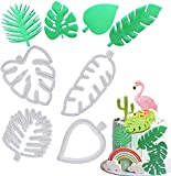 mciskin Cortador de Galletas de Hojas Tropicales - Juego de cortadores de Fondant de Hojas de Palmera Hawaiana para Pasta de Goma, Dulces de azúcar, decoración de Pasteles Luau(4 Piezas)