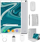2 in 1 Tablets 10 Inch, Android 10.0 Tablet PC with Wireless Keyboard Case, 4GB RAM 64GB ROM/128GB Computer Tablets, Quad Core, HD/IPS, 8000mAh, 4G LTE/WiFi (Silver)