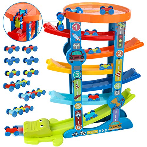 LOYO Toddler Car Ramp Toys – Car Race Tracks for Toddlers with 10 Mini...