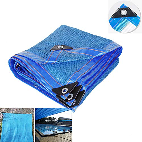 YYQ Heavy Duty Shade Cloth Net Cover Blue Tarp Permeable Fabric Foldable with Grommets,Sunshade for Backyard Swimming Pool Pet,2x3m/6.6x10ft