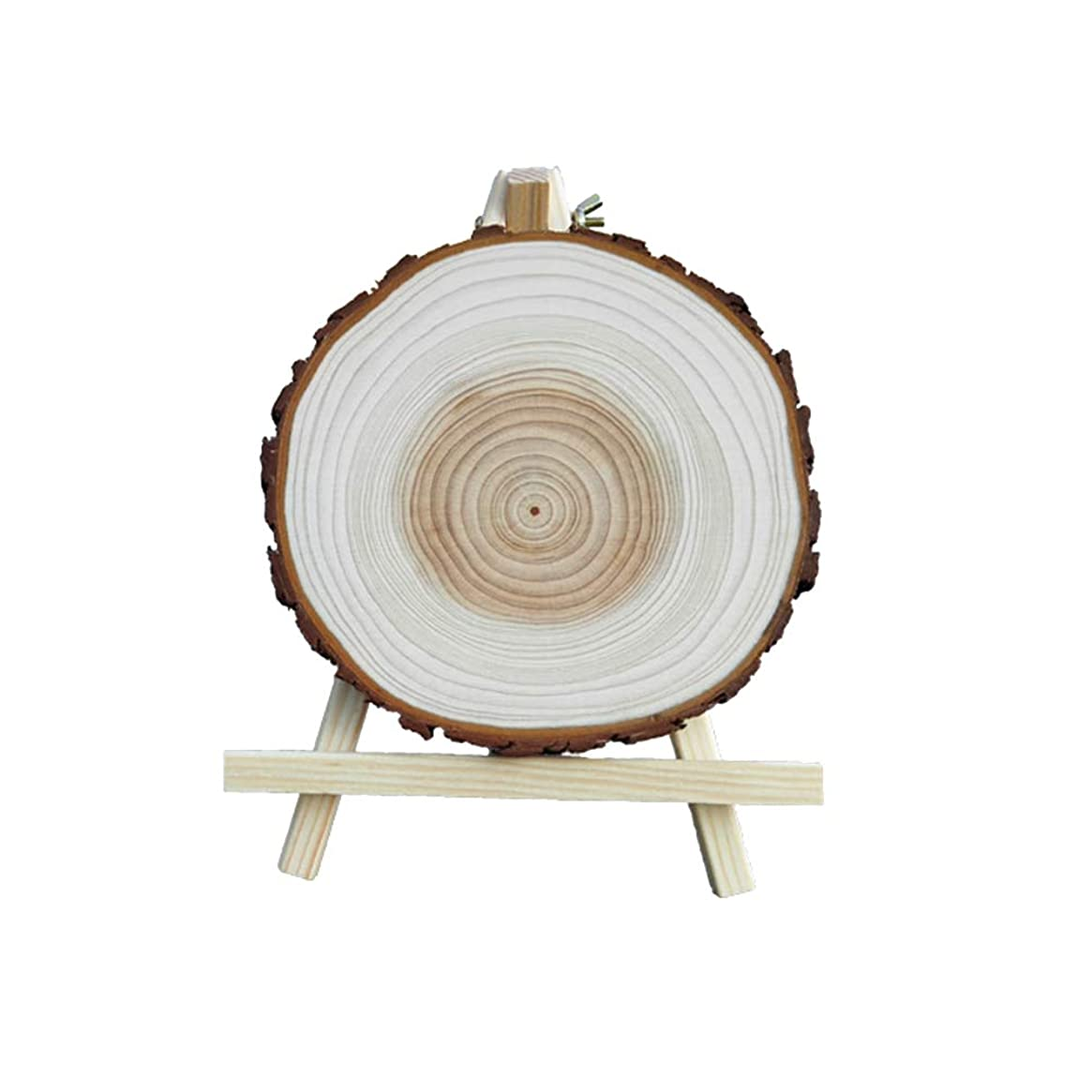 宇宙の銀ボイラーSUPVOX 1PCSミニウッドイーゼルラウンド木製チップ工芸アクセサリーで3PCS天然木のスライス