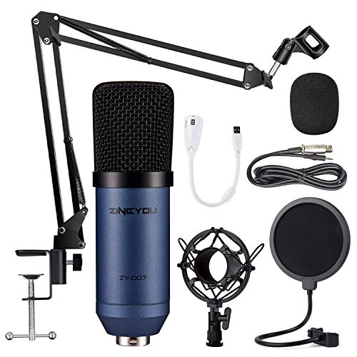 Condenser Microphone ZINGYOU Computer Mic ZY-007 Recording Bundle for Gaming Streaming YouTube Videos Professional Cardioid Microphone include Adjustable Arm Stand, Shock Mount and Pop Filter(Blue)