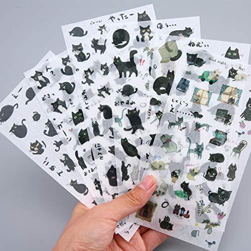 6 Sheets/pack Black Cat Decorative Stationery Stickers Scrapbooking Diy Diary Album Stick Lable