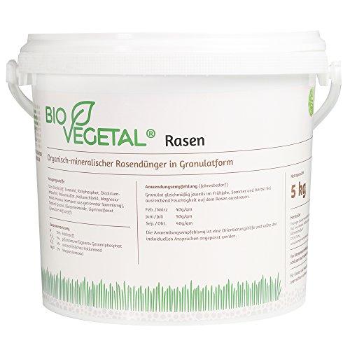 BioVegetal organisch-mineralischer Rasendünger mit Guano und natürlicher Langzeitwirkung durch Fixierung der Nährstoffe durch Ton-Humus-Komplex, 5 kg Eimer