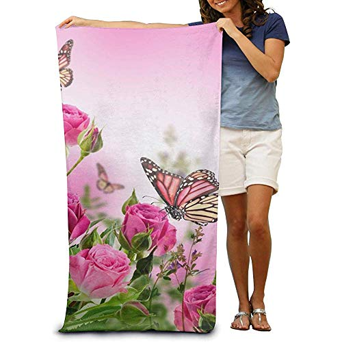 Like-like Toallas de baño Flores Extra Grandes de Color Rosa con Mariposas Toallas de Playa Estampadas Toallas de baño de Secado rápido Toalla Absorbente