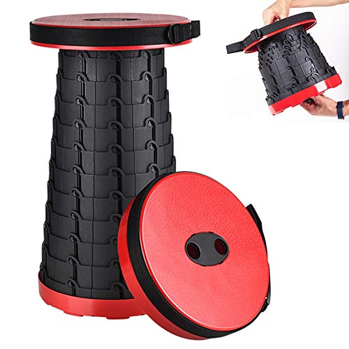 Aoblah Telescopic Stool Portable Folding Stool For Adults Outdoor Collapsible Stool Heavy Duty Retractable Folding Stool Sturdy Portable Stool Folding Lightweight Seat for Sitting (Red)