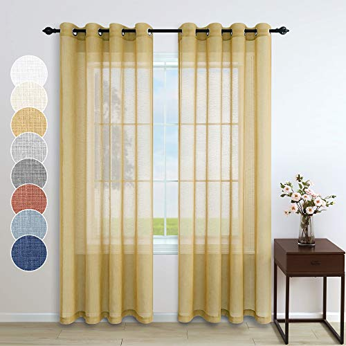 Pitalk Gold Sheer Curtains 84 Inches Long for Bedroom 2 Panel Set Grommet Window Semi Privacy Linen Look Warm Mustard Yellow Curtain for Living Room Dining Nursery Boys Bedroom Decor 52x84 Inch Length