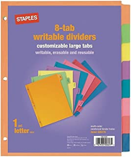Staples 486276 Large Tabs Blank Paper Dividers 8-Tab Multicolor (13513/23181)