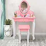 JOYMOR Kids Vanity Set with Mirror and 3 Drawers, Princess Vanity Table and Chair Set, Makeup Dressing Table with Rotatable Mirror for Girls (Pink)