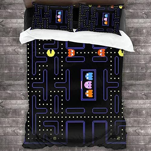 Lesliew Pacman Arcade Game Bedding, 3D Bedding Comforter Quilt Set Decorative 3 Piece Bedding Set with 2 Pillow Shams