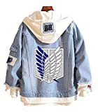 Gumstyle Anime Attack on Titan Denim Hoodie Jacket Adult Button Down Jeans Coat 1-XL