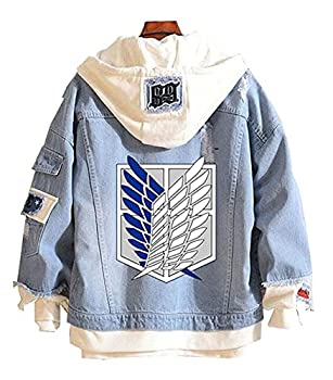 Gumstyle Anime Attack on Titan Denim Hoodie Jacket Adult Button Down Jeans Coat 1-L