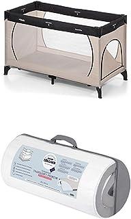 Hauck Kinderreisebett Dream N Play Plus, inkl. Julius Zöllner Premium Reisebettmatratze, tragbar und klappbar, 120 x 60 cm, grau