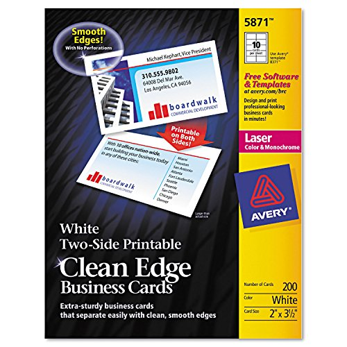 Averyamp;reg; - Two-Side Clean Edge Laser Business Cards, 2 x 3 1/2, White, 1000/Pack - Sold As 1 Box - Customize Both Sides of Your Business Cards.