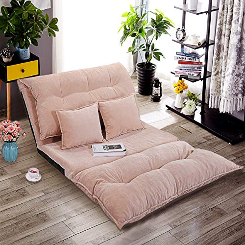 JAXSUNNY Adjustable Folding Floor Sofa,Leisure Soft Confortable Sofa Bed Video Gaming Sofa with Two Pillows,Pink