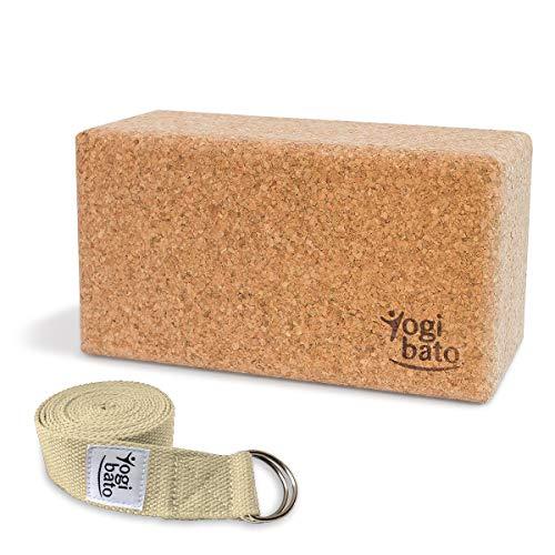 Yogibato Yoga Set – Yogablock Kork & Yogagurt – Natur Korkblock für Pilates Fitness – Cork Brick & Yoga Strap – Yogaset Block & Gurt – Natur