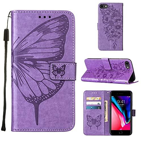Funda de piel para iPhone 6, iPhone 7, iPhone 8, funda de piel sintética, diseño de flores de mariposa, funda protectora a prueba de golpes con soporte para tarjetas para iPhone 6/7/8/SE