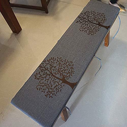 DE11 Cojín de banco largo para interior, extraíble lavable 2 o 3 plazas, colchón de viaje de repuesto con cuerda de corbata, alfombrilla de silla de madera antideslizante