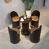 PLLP Bar, cafetería, silla de restaurante, taburete de bar vintage de hierro forjado, silla de bar, silla de taburete antiguo, combinación de tambor de aceite, mesas y sillas de café de estilo indust