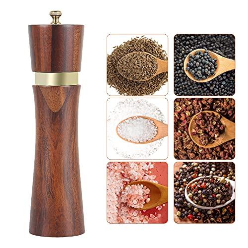 Molinillo pimienta, molinillo de sal de madera, molinillo de especias manual con molinillo de cerámica, finura ajustable, para sal, pimienta, hinojo, especias, 21,5 cm (1)