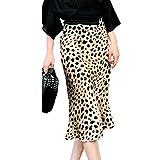 Falda Midi Estampado Leopardo Sexy Falda Mujer Sintética Falda Recta para Mujer Estilo Casual Primavera Verano (Leopardo, XL)