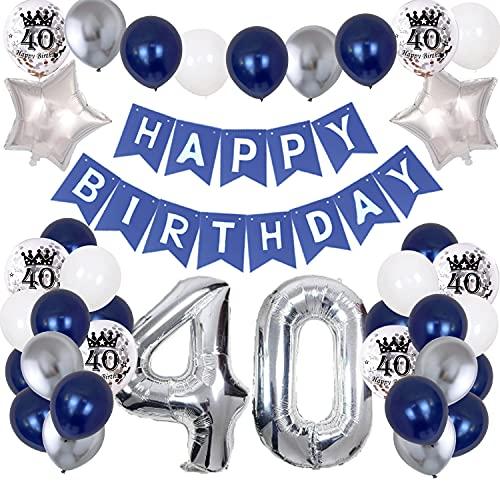 40. Geburtstag Dekoration Mann, Marineblau Silber Geburtstagsdeko Party Luftballon Happy Birthday Deko Banner mit Bedruckte Silber Konfetti Luftballons Folienballon Zahl 40. Luftballons Party Deko