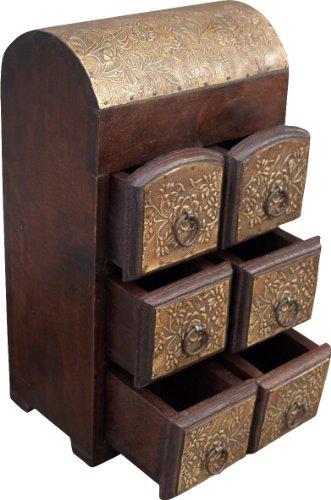 Guru-Shop Schubfachschränkchen, Apothekerschränkchen, Schmuck Schränkchen - Modell 8, Braun, 35x20x14 cm, Dosen, Boxen & Schatullen