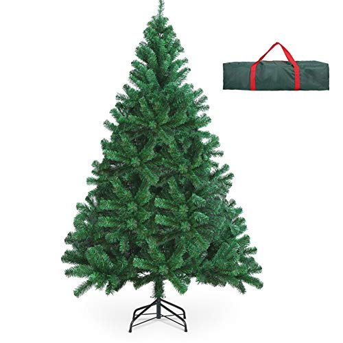 OUSFOT Christmas Tree with Storage Bag 6ft 800 Branch Tips Artificial Christmas Tree Easy Assembly Foldable Metal Stand PVC for Indoor Outdoor Christmas Decorations