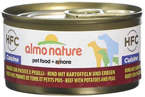 almo nature Comida Húmeda para Perros Natural de Vacuno, Patatas y Guisantes (24 latas x 95 g). Alimento para Perros Monoproteíco Enlatado HFC Cuisine. Snack Complementario sin Gluten.