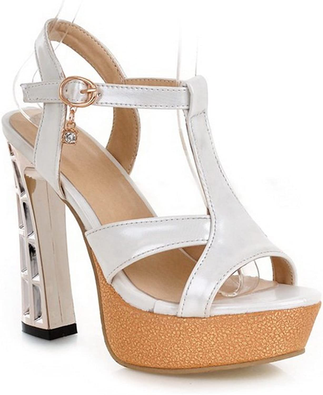 1TO9 Ladies Studded Rhinestones Heel Open-Toe White Soft Material Sandals - 10 B(M) US