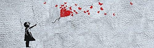 1art1 Mädchen - Mädchen Mit Luftballon Und Schmetterlingen, Banksy-Style, 1-Teilig Fototapete Poster-Tapete 250 x 79 cm