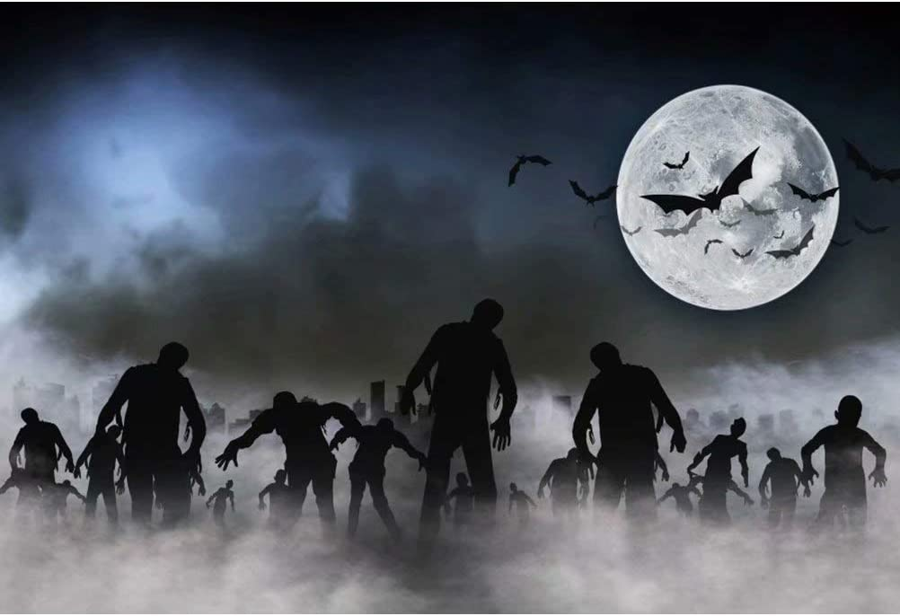 OFILA Zombies Background 5x3ft Polyester Fabric Halloween Creepy Cemetery Photos Backdrop Halloween Zombie Party Decoration Full Moon Night Events Halloween Photo Booth Misty Graveyard Photos Props