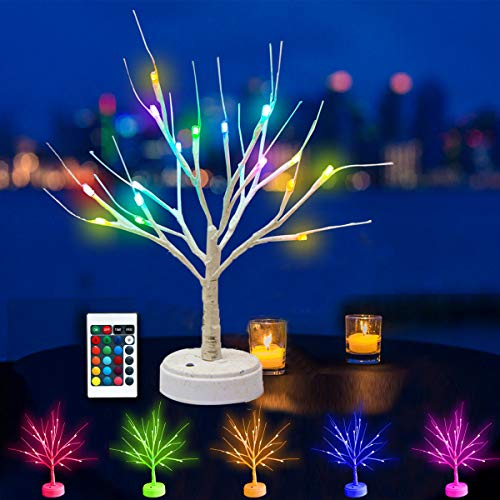 Oycbuzo Lighted Birch Tree, Battery Powered Christmas Tabletop Tree with Purple Pink Orange Blue Multicolor Lights for Christmas Party Wedding Decoration