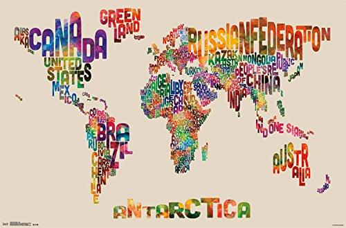 World Map - Text Poster Print (86.36 x 55.88 cm)