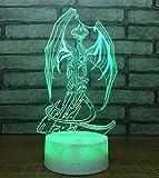QiXian Lampe de Poche LED Lampe Knochen Drachen USB 3D Lampe Lampe de Table à Énergie Solaire de Haute Qualité Lampe de Poche Carte de Base 7 Images 3D à Télécharger de Votre Téléphone Mobile