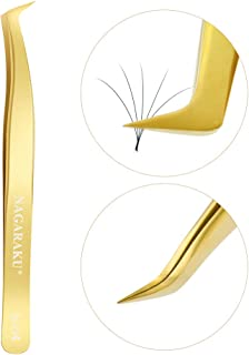NAGARAKU Tweezers professional for eyelash extensions curved special for volume eyelashes premade fans tweezers easy fan s...