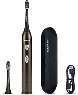 KIVOS 電動歯ブラシ 歯ブラシ 音波歯ブラシ 一回充電60日長持ち 大人と子供充電式超音波歯ブラシ 2分スマートタイマー IPX5防水 超高速振動ブラシ ダイヤモンドクリーンホワイト 食品グレードの環境保護材料