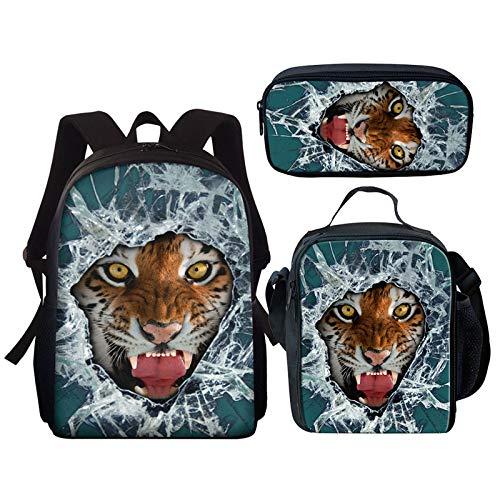 YUNSW 3D wasserdichte Schultasche Für Jungen, Geeignet Für Den Schulgebrauch, Schultasche Mit Löwen- Und Tigerdruck Für Mädchen, Multifunktionale wasserdichte Schultasche