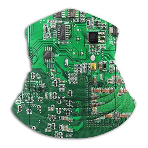 XCVD Green Computer Circuit Board Face Bandana Neck Gaiter, Sun Uv Dust Protection Reutilizable Half Mask Scarf Motocicleta para Hombres Mujeres