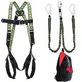 Kratos - Kit de seguridad para andamios (protección contra caídas con cinturón de seguridad Kratos, EN361, amortiguador en Y EN355, mochila, PSA, certificado CE)