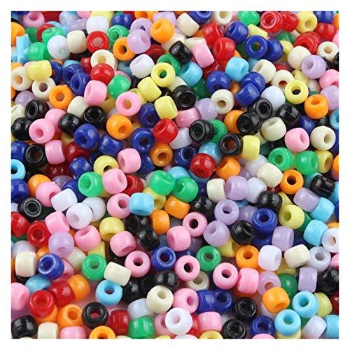 De múltiples fines 100 / 200pcs 4mm 6mm Color de caramelo acrílico Redondo Agujero grande Agujero espaciador Granos para la joyería Fabricación de accesorios de joyería de bricolaje para artesanías pa