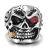 Hip Hop Rock Style Acero Inoxidable Circón Gótico Antiguo Skull Heads Biker Anillo para Mujer/Hombre