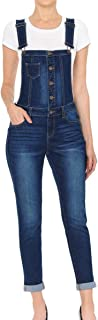 Wax Women's Juniors Cute Denim Overalls with Exposed Buttons