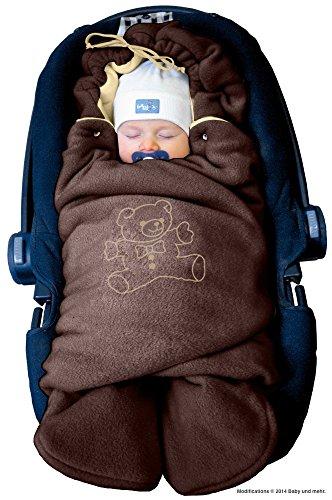 ByBoom- Baby Winter-Einschlagdecke \'Das Original mit dem Bären\', Universal für Babyschale, Autositz, z.B. für Maxi-Cosi, Römer, für Kinderwagen, Buggy oder Babybett, Farbe:Braun/Beige