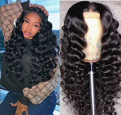 Pelucas frontales de encaje Peluca de pelo rizado Larga Pelucas de onda naturales para mujeres negras Pelada de cabello de peluche con pelo con pelucas para bebés Pelucas sintéticas Pelucas resistente