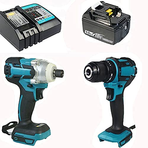 MIJPOJAN Electric Impact Wrench Cordless, 18V Impact Drill Kit Combi Drill 45Nm and Impact Driver 350Nm 1X5.5Ah Batteries and Fast Charger with LED Light Dri