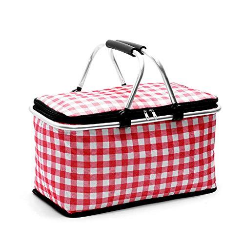 BABI opvouwbare boodschappenmand, stabiele grote capaciteit, opvouwbare picknickmand met deksel, opvouwbare boodschappenmand groot voor winkelen, picknick, warmte-isolatie