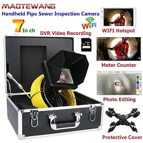 XIAODONGDONG 7inch WiFi 6W LED-Leuchten Handindustrierohrkanalinspektion Videokamera mit Meterzähler/DVR Videoaufzeichnung / 23mm HD 1080P Kamera,50m
