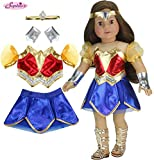 Sophia's 18 Inch Doll Super Hero Woman Costume, Fits American Girl Dolls & More! 18 Inch Doll Clothes Super Heroine Outfit with Accessories | Doll Sold Separately
